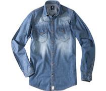 Herren Jeanshemd Vintage-Optik indigo blau