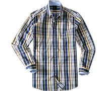 Herren Hemd Smart Cut Baumwolle gelb-blau kariert blau,gelb