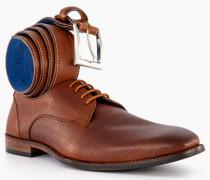 Schuhe Derby mit Gürtel Kalbleder cognac