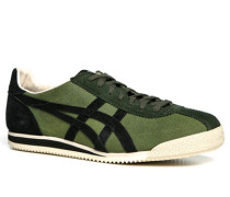 Herren Schuhe Sneaker Veloursleder grün-schwarz