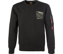 Herren Sweatshirt, Baumwolle, schwarz