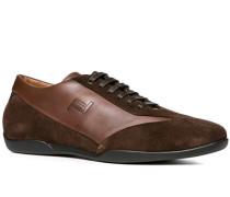 Herren Schuhe Sneaker Leder-Mix dunkelbraun