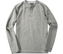 Herren T-Shirt Longsleeve Baumwolle khaki meliert grün