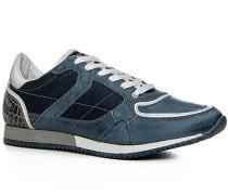 Herren Schuhe Sneaker Leder-Nylon-Mix azzurro blau,weiß
