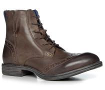 Herren Schuhe Schnürstiefeletten Leder dunkelbraun