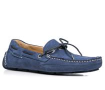 Herren Bootsschuhe Nubukleder blau