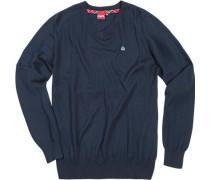Herren V-Pullover Wolle navy