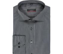 Herren Hemd Modern Fit Baumwolle schwarz-grau gestreift