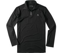 Herren Zip-Polo-Shirt Microfaser-Stretch Drycomfort schwarz