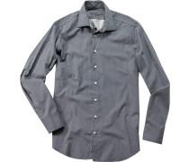 Herren Hemd, Popeline, navy-weiß gemustert blau