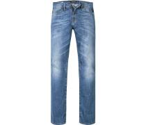 Herren Jeans, Straight Cut, Baumwolle, jeansblau
