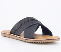 Schuhe Pantoletten Leder-Textil navy