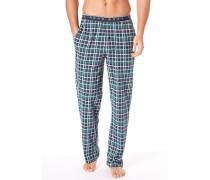 Herren Pyjamahose Baumwolle blau-grün