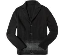 Herren Strick-Blazer Schurwolle schwarz-grau gemustert