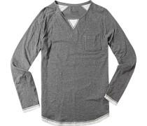 Herren Langarm-Shirt Baumwolle meliert