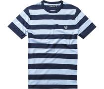 Herren T-Shirt Baumwolle hellblau-navy gestreift