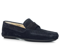 Herren Schuhe Mokassins Leder navy blau