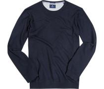 Herren Pullover Seide-Baumwolle nachtblau