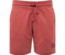 Herren Hose Shorts Baumwolle rost meliert rot