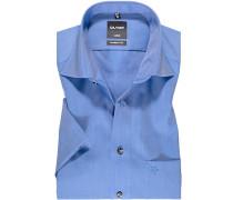 Herren Hemd, Modern Fit, Chambray, azurblau