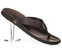 Herren Schuhe Zehensandalen, Leder, dunkelbraun