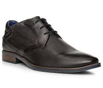 Herren Schuhe Derby, Leder, dunkelgrau