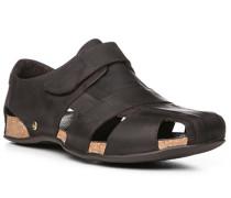 Herren Schuhe Sandalen, Nappaleder geölt, dunkelbraun schwarz