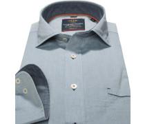 Herren Hemd, Casual Fit, Popeline, bleu gemustert blau