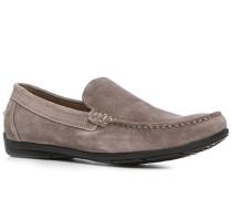 Herren Schuhe Mokassin, Veloursleder, taupe braun