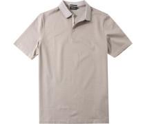 Herren Polo-Shirt, Baumwolle mercerisiert, beige gemustert