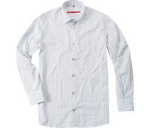 Herren Hemd Classic Cut Baumwolle weiß gemustert