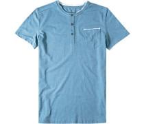 Herren T-Shirt Baumwoll-Mix jeansblau meliert