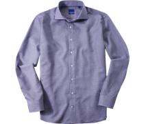 Herren Hemd Slim Fit Strukturgewebe blau-weiß gemustert