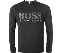 Herren T-Shirt Longsleeve, Regular Fit, Baumwolle, schwarz