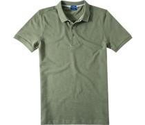 Herren Polo-Shirt Slim Fit Strukturgewebe olivgrün meliert