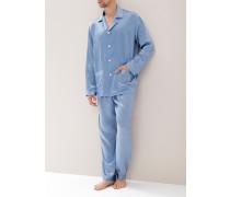 Herren Schlafanzug Pyjama, Seide, blau gemustert