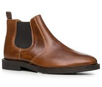 Herren Schuhe Chelsea Boots Glattleder cognac braun