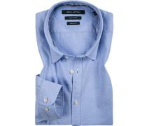 Herren Hemd, Shaped Fit, Oxford, blau
