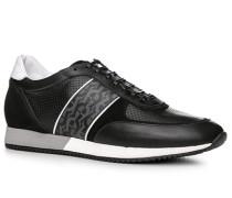 Herren Schuhe Sneaker, Leder-Textil, schwarz