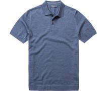 Herren Polo-Shirt Schurwollstrick meliert