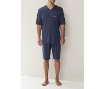 Herren Schlafanzug Pyjama, Baumwolljersey, navy blau