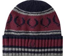 Herren  FRED PERRY Mütze Lammwolle dunkelblau-bordeaux gestreift rot