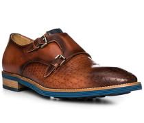 Schuhe Doppelmonkstrap Leder testa di moro