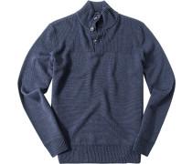 Herren Pullover Troyer, Schurwolle, blau