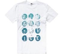 Herren T-Shirt Baumwolle weiß gemustert blau,weiß