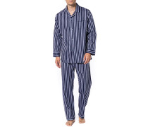Herren Schlafanzug Pyjama, Baumwolle, navy gestreift blau