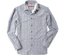 Herren Flanellhemd Classic Fit blau gemustert blau,weiß