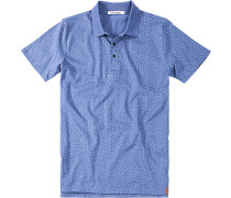 Herren Polo-Shirt, Baumwolle, oliv gemustert blau
