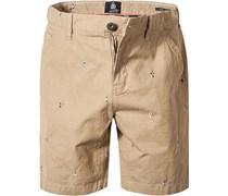 Herren Hose Shorts Regular Fit Baumwolle sand beige