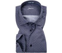 Herren Hemd, Slim Fit, Popeline, blau gemustert